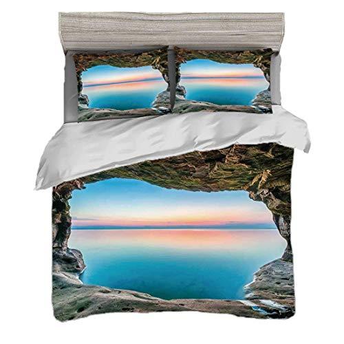 Funda nórdica Tamaño King (200 x 200 cm) con 2 fundas de almohada Decoraciones de cuevas naturales Juegos de cama de microfibra Imagen de hadas del horizonte dentro de la gruta escondida Punto del par