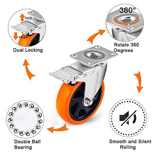 51WS0wKlIiL. SL500  - D&L Ruedas giratorias de 5 pulgadas, 1500 libras, ruedas de alta resistencia con freno de poliuretano, juego de 4 ruedas de bloqueo doble, naranja DL-I5-001