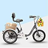 FGVDJ 3 Wheel Bikes Adult Tricycles 7 Speed Adult Trikes Three-Wheeled Cruiser Bicycles with Cargo Basket for Recreation Shopping Exercise Men's Women's Bike