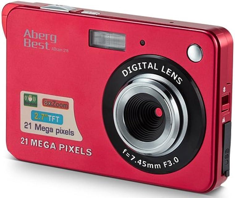 Compactas Cámaras Digitales AbergBest 2.7 LCD Recargable HD Cámara Digital para Estudiantes niños Adultos Interior y Exterior (Rojo)