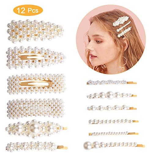 Pinces à cheveux perle,Winpok 12 Pcs Cheveux Barrette Artificielle Pince à Cheveux Accessoires pour Filles Femmes pour Fête, anniversaire Saint Valentin Cadeaux (12PCs)