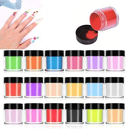 LINYU Poudre Acrylique Ongle, 18 Couleurs 3D Gel UV Acrylique Ongle Nail Art Decoration, Adapté Aux Débutants