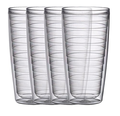 Boston Warehouse Insulated Plastic Tumblers, 24-Ounce, Set of 4, Clear Collection