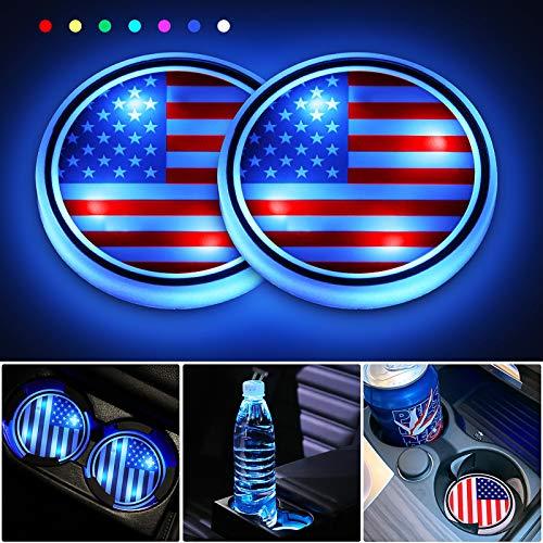 Posavasos LED para coche, 2 unidades, con 7 colores cambiantes, carga USB, para botella, luz de decoración de ambiente interior
