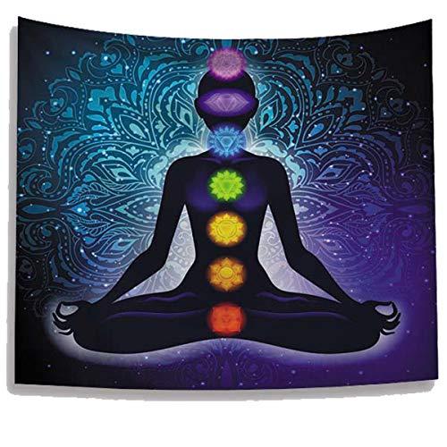 WUIOS indische Chakren Tapisserie, Yogamatte, Bohemianisches Studio-Raum, Meditation, Dekoration, Decke Dekoration, Picknickdecke (59 W x 79 l), Schwarz