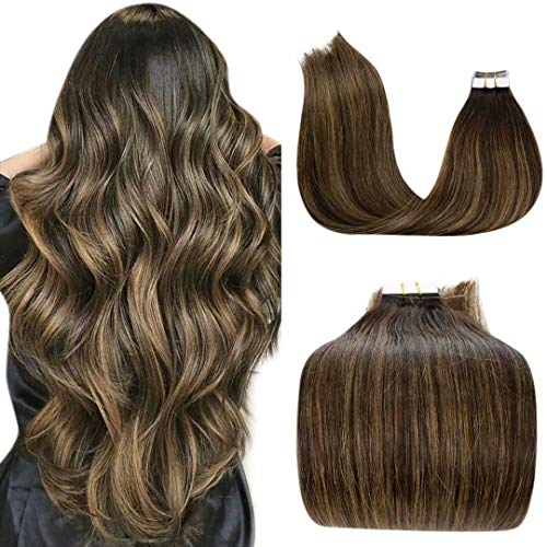 LaaVoo 18 Pollici Balayage Seamless Hair Extension Invisibile Tape in Capelli Veri Naturali Great Length Marrone Scuro #2 Fading to Marrone Chiaro 50Grammo/20Piece