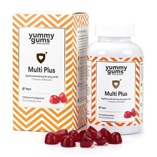 Yummygums Leckere Multivitamin Gummibärchen für Kinder ab 3 Jahren - 120 Vitamin Gummibären für die tägliche Unterstützung der Kids mit wichtigen Vitaminen, Mineralstoffen und Spurenelementen - Vegan