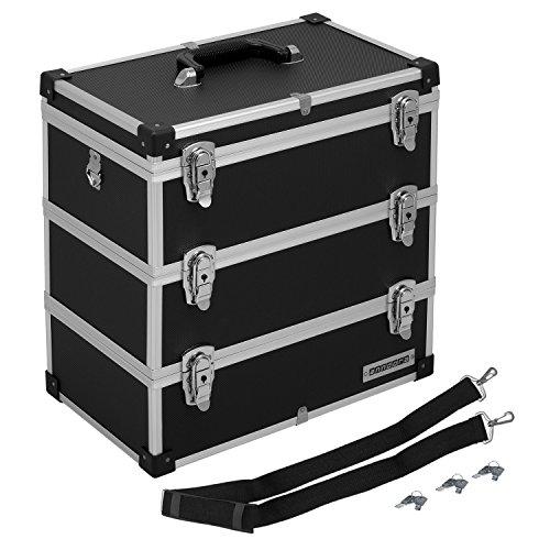 anndora® Werkzeugkoffer 32 Liter Angelkoffer Etagenkoffer 3 Ebenen Schwarz Alu