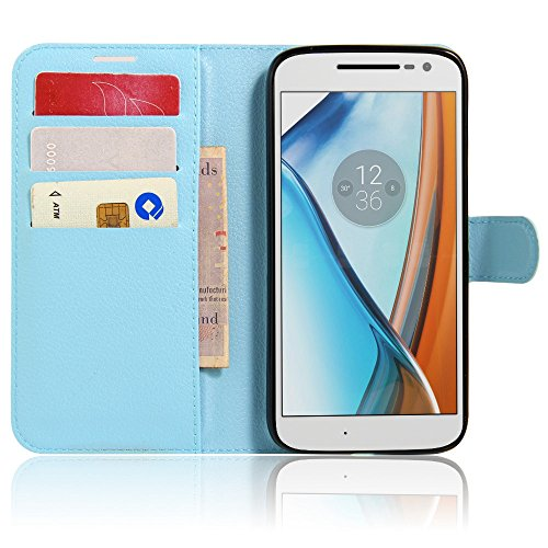 Tasche für Lenovo Moto G4 Play (5.0 zoll) Hülle, Ycloud PU Ledertasche Flip Cover Wallet Hülle Handyhülle mit Stand Function Credit Card Slots Bookstyle Purse Design blau