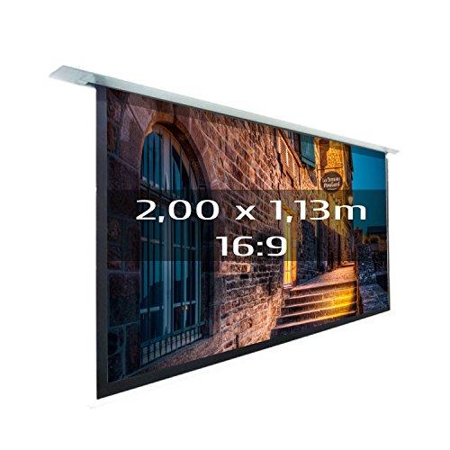 KIMEX 048-1512 Pantalla de proyección eléctrica empotrable 2,00x1,13m, formato 16/9