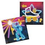NET TOYS 12 Servietten 80er Jahre 33 x 33 cm - Außergewöhnliche Party-Dekoration Disco Fever Papierservietten - Bestens geeignet für Mottoparty & Geburtstagsfeier