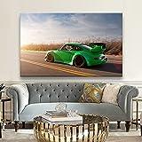 cuadros de lienzo 27.6x35.4in (70x90cm) sin marco Modificado verde Porsche 964 Japonés JDM superdeportivo de cuerpo ancho pintura de oficina en casa pared decoración del hogar regalo