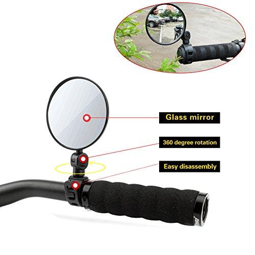 Espeedy Espejo retrovisor de bicicleta ,1 Par Espejo retrovisor de bicicleta universal Manillar Ciclismo ajustable Espejos retrovisores de seguridad flexibles Accesorios para bicicletas