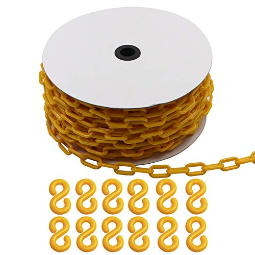 100 Feet Plastic Barrier Chain with 12 S-Hooks for Commercial Construction Site/Garage,6MM Yellow Caution Security Chain Link Barriers-Crowd Control, Driveway/Door/Garage Blocker