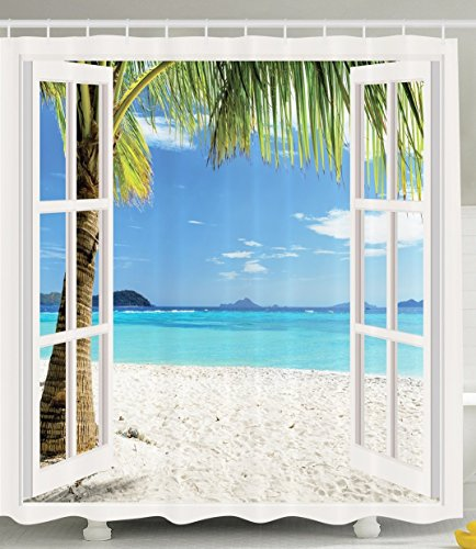 Violetpos Weißer hölzerner Fenster-Palmen-Strand Duschvorhang Badezimmer Dekorative 120 x 180 cm