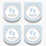 Set of 30 Personalized Blue Baby Feet Hand Mini Favor Labels - Customized Stickers for Baby Shower Favors - Labels for Mini Plastic Bottles (HSL104)