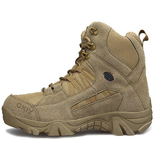 MERRYHE High Top Outdoor Taktische Stiefel Armee Militärstiefel Camping Kampfstiefel Anti-Slip Lace Up Polizeistiefel Für Männer Klettern Schuhe,Brown-44