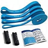 HelleX- Pull Up Bands, Set of 4 Resistance Bands and 2 Band Organizing Sleeving Handles.- Max 185 LBS Pull Up Assistance Bands for Exercise,Workout, Training -Include Carry Bag and User Manual.