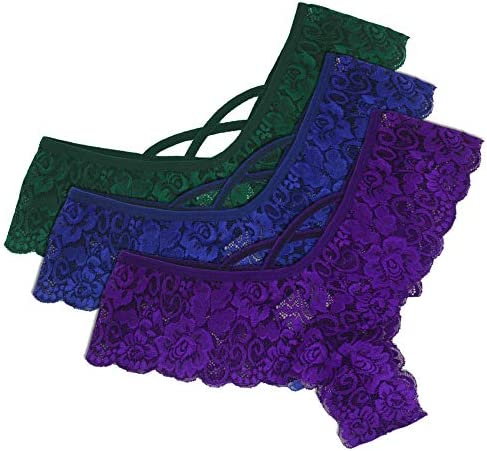 URSING Women Sexy 3PC Lace Flowers Low Waist Underwear Panties G String Lingerie Thongs Women product image