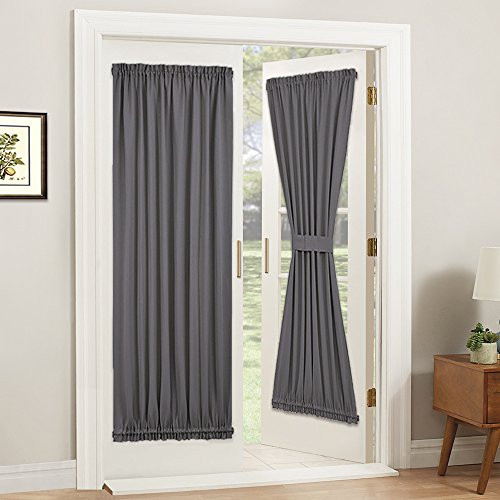 PONY DANCE Gray Door Curtain - Thermal Insulated Rod Pocket Blackout Privacy French Door Panel with Tieback, 54 inch Wide by 72 inch Long, Grey, 1 PC