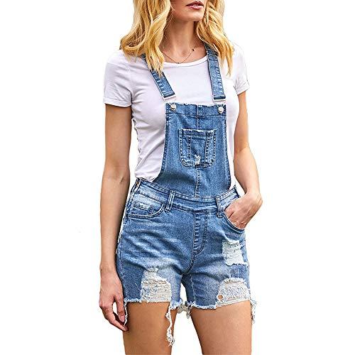 Verano Mujer Mono Petos de Pantalones Corto, Morbuy Casual Jeans Bolsillos Elegante Jumpsuits Moda Playa Fiesta Noche Cctel Overoles Denim Pantaln (2XL, Azul)
