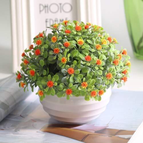LiuQ Flor Artificial Flor Gypsophila paniculata florero de la decoración de la Sala Artificial de la decoración Interior de plástico Artificial Decoración (Color : Orange)