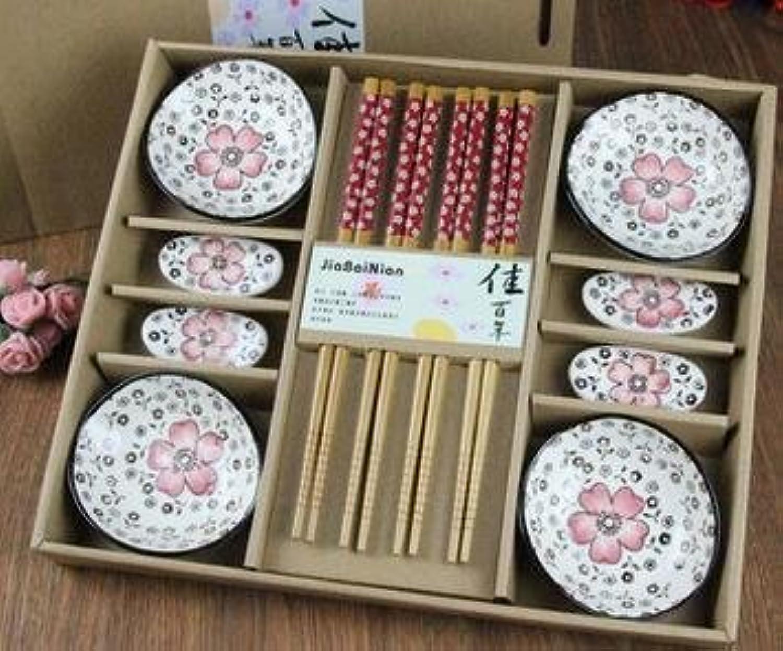 Japanese Style Cherry Blossom Ceramic Sushi Dishes Sashimi Soysauce Dish Dinnerware Set Tableware Set Gift Box (12pcs Set)   Red Cherry