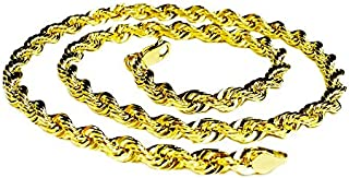 """18KT Solid Yellow Gold Diamond Cut Rope Chain Necklace 32"""" 7 mm 135 grams (KDC050)"""