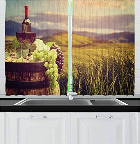 """Ambesonne Wine Kitchen Curtains, Italy Tuscany Landscape Rural Vineyard Autumn Harvest Grapes Drink Viticulture, Window Drapes 2 Panel Set for Kitchen Cafe Decor, 55"""" X 39"""", Black Brown"""