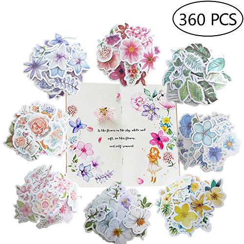 360pcs Various Shaped Flower Stickers-8 Different Styles of Flowers for Personalize Laptops Skateboards Luggage Cars Bumpers Bicycles Books Album Journal Planners Artsy Decals Stickers