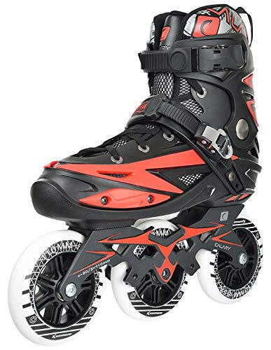 Jukkre Adjustable Inline Skates for Kids - 3 Wheel Blades Roller Skates for Boys, Girls, Teens, and Young Adults Outdoor Roller Skates for Beginners & Advanced (RED)