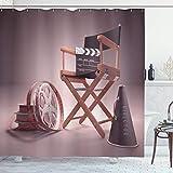 Cortina de ducha de películas, asiento de director de cine, amante de la película, conjunto de películas, tira de cinta, guión gráfico, conjunto de decoración de baño de tela con ganchos, marrón beren