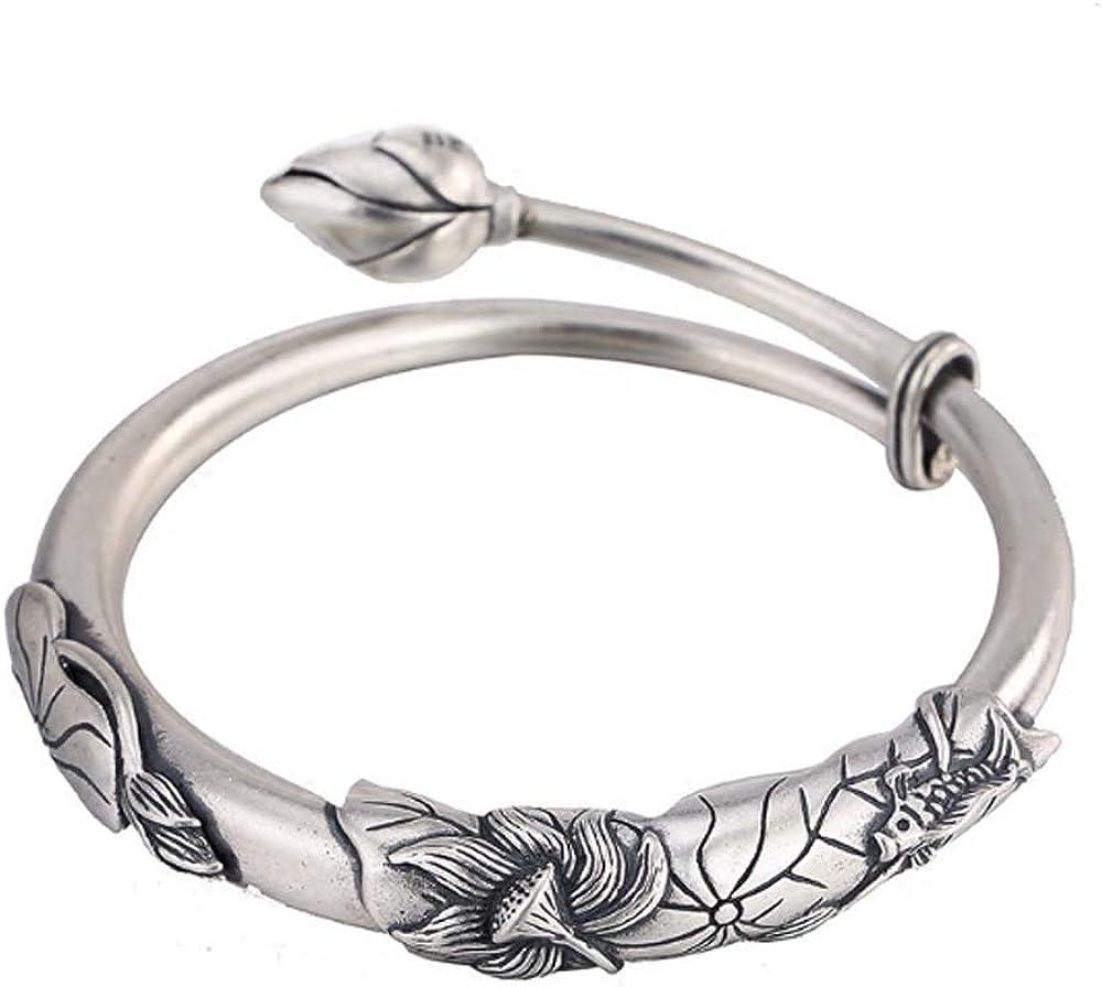 Jade Angel Sterling Silver Engraved Water Lily Women Bangle Brac