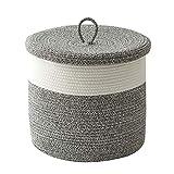 Tegance Woven Rope Basket with Lid - Cotton Rope Baskets for Organizing, Large Laundry Baskets Hamper, Living Room Basket for Blanket Nursery, Multi Purpose Storage Basket, 16'D x 14'H.