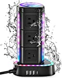 ESHLDTY RGB Power Strip Tower, Surge Protector with 1 USB C Port 3 USB Ports 9 AC Outlets, 2000J 1875W 6ft Extension Cord, Waterproof Charging Station for Gaming Party Home Office