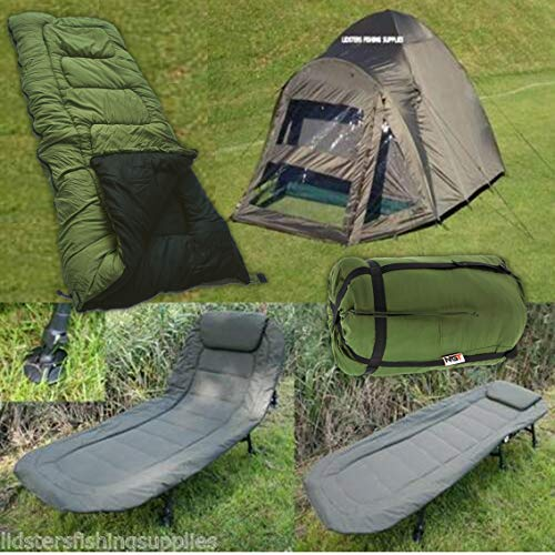 2 Man NGT Carp Fishing Bivvy + 6 Leg Bed Chair Bedchair + 5 Seasons Sleeping Bag