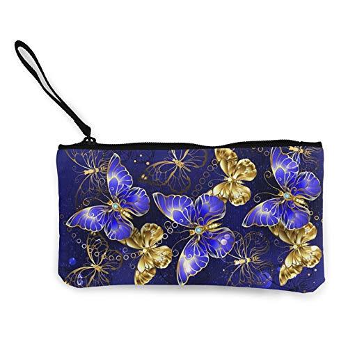 Moneda de lona, composición con mariposas de zafiro, bolsa de cosméticos con cremallera, bolsa de maquillaje multifunción para teléfono móvil, bolsa de lápices con asa