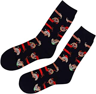 Womens Dachshund Holiday Christmas Crew Socks Black 9-11