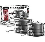 GRANITESTONE Stack Master 10 Piece Cookware Set, Triple Layer Nonstick Granite Stone with Diamond...