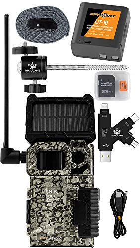 SPYPOINT Link-Micro-S-LTE Solar Cellular Trail Camera with LIT-10 Battery, Micro SD Card, Card Reader, and Mount (Link-Micro-S-LTE-V)