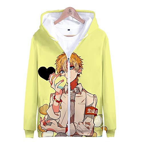 Toilet-Bound Hanako-kun Capuchon Rits Sweatshirt 3D Gedrukt Anime Cosplay Kostuum Tops voor Heren Dames