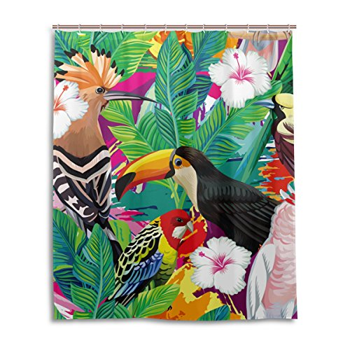 LIANCHENYI Duschvorhang mit tropischen Vögeln & Papageien, wasserdicht, 100 prozent Polyester-Stoff, Heimdekorativer Badezimmer-Duschvorhang, 152,4 x 182,9 cm