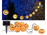 Lunartec Lampionkette: Solar-Lichterkette mit 10 LED-Lampions im Halloween-Kürbis-Look, IP44 (Lichterketten Garten Solar)