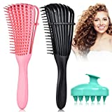3 Pack Detangling Hair Brush Set, Detangler Brush Comb for Natural Black Hair, Scalp Massager Shampoo Brush for Afro America 2A to 4C Texture Waves Coily Oil Thick Long Curly Hair (Black,Pink,Green)