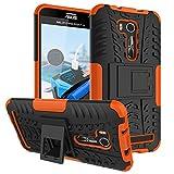 PAIPAIGUAN ASUS Zenfone Go ZB551KL(5.5 Zoll) hülle(Silikon Series) TPU + PC 2-in-1-Double-Layer-idealer Schutz,Stoßfest Handyhülle Drop Resistance Handys Schutz Hülle mit Ständer für-Orange