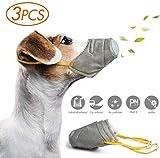 3 Pezzi Museruole per Cani,Regolabile Museruole Protettiva Antipolvere Traspirante per Animali Domestici in Cotone Morbido Traspirante PM2.5,S