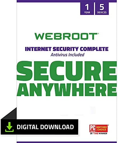 Top New Webroot Internet Security Complete Virus Protection Software 2021 for 5 Devices + Identity Protection, Secure Web Browsing, Password Manager, Cloud Backup, iPhone & Android  1 Year [PC Download]