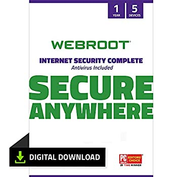 Webroot Internet Security Complete 2021|Antivirus Software for 5 Device | 1 Year | PC Download | Includes Android IOS Password Manager System Optimizer and Cloud Backup