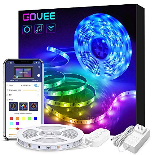 Govee Smart LED Strip Lights Works with Alexa, APP Control 16.4ft RGB LED Light Strip WiFi Sync with Music, 16...