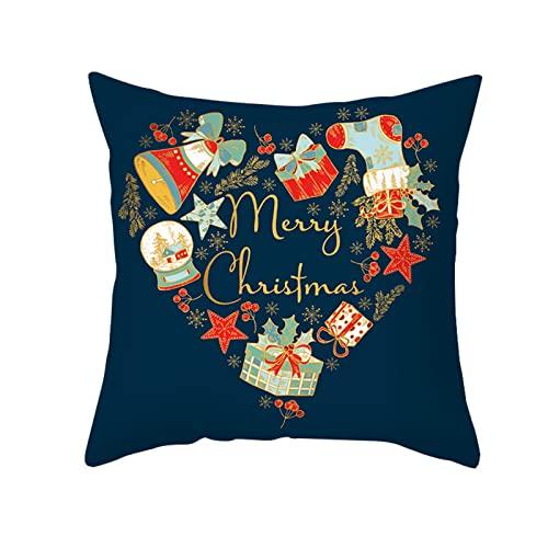 Funda de almohada de Navidad azul estilo nórdico piel melocotón impresión colorida almohada sofá almohada almohada almohada para el hogar (45x45cm) - 2